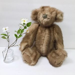 Vintage Jointed Teddy Bear Leather Real Mink Fur